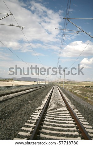 A beautiful landscape and long-drawn-out train route images - stock photo