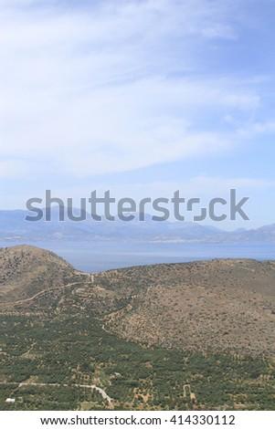 a beautiful landscape between sea and sky, Crete island - stock photo