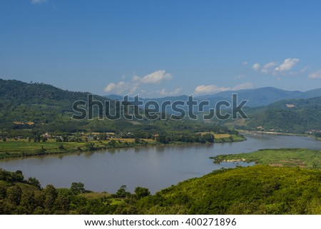 A Beautiful landscape of Thai- Lao boarder with blue sky and greenery background - stock photo