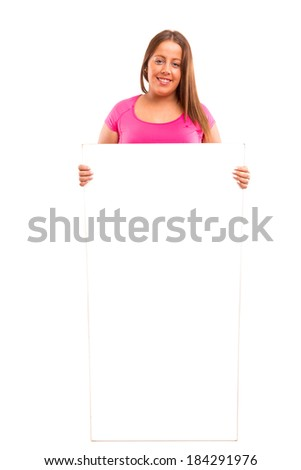A beautiful large woman holding a white board