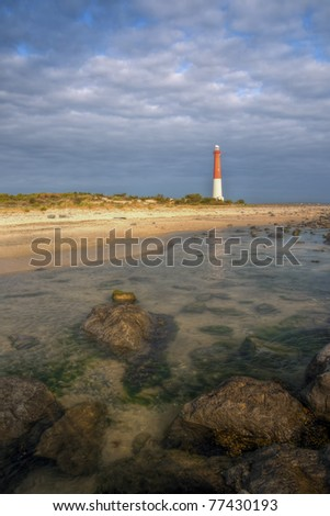 A beautiful morning at Barnegat Lighthouse State Park; New Jersey. - stock photo