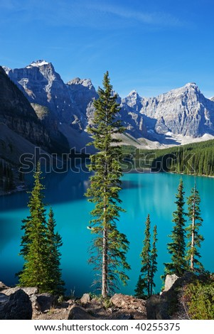 A beautiful morning at Moraine Lake, Banff National Park, Alberta, Canada. - stock photo