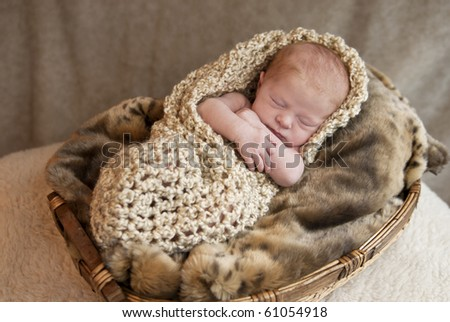A beautiful newborn baby in a basket, soft focus - stock photo