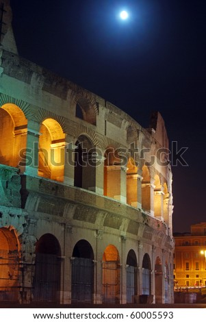 A beautiful night picture of the Colosseum in Rome
