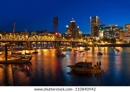 A beautiful night view of portland - stock photo