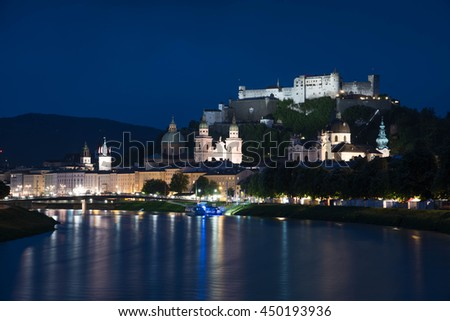 A beautiful night view of Salzburg. Austria, Europe. - stock photo