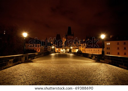 a beautiful night view of the Charles Bridge in Prague