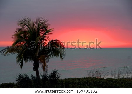 A Beautiful Ocean Sunset on Sanibel Island Florida - stock photo