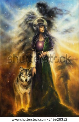 A beautiful oil painting on canvas of a mystical fairy priestess with a wolf by her side  profile portrait eye contact  - stock photo
