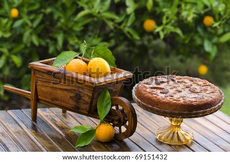 A beautiful orange cake decorated with a wheelbarrow carrying oranges - stock photo