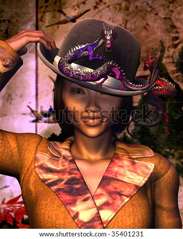 A beautiful Oriental woman wearing a bowler hat is having trouble with crazy dragons on her head. Illustration with texture - stock photo