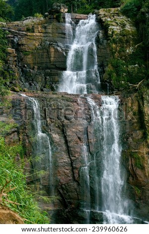A beautiful picture of Sri Lanka mountain forest cascade waterfall - stock photo