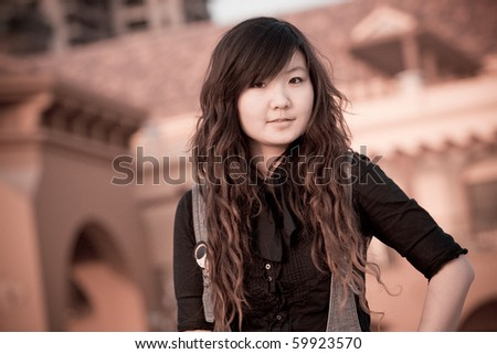 A beautiful portrait of Chinese girl - stock photo