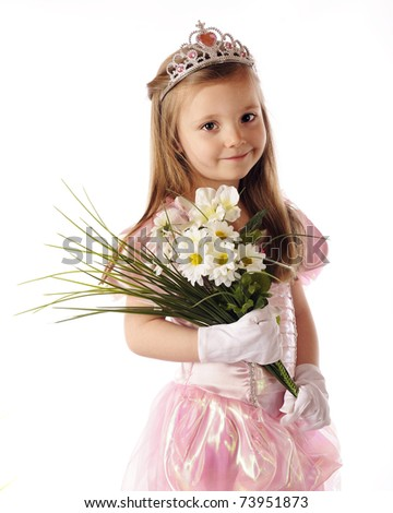 A beautiful preschool princess holding a bouquet of white flowers.  Isolated on white. - stock photo