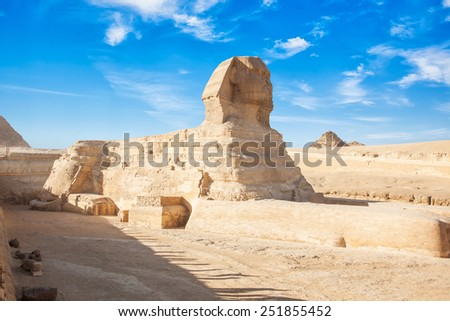 A beautiful profile of the Great Sphinx - stock photo
