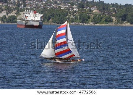 a beautiful sail boat in seattle washingtons puget sound - stock photo