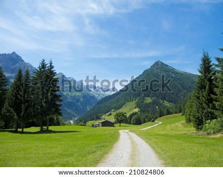 a beautiful scenery in the austrian lechtal alps - stock photo