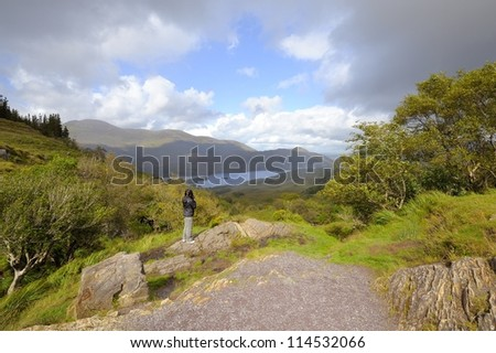 A beautiful scenic view on the lakes of Kerry (Ireland) - stock photo