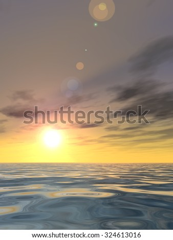 A beautiful seascape with water and waves and a sky with clouds at sunset as a metaphor for nature, romantic, dramatic, light, evening, peace, atmosphere or weather