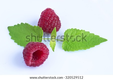 A beautiful selection of freshly picked ripe red raspberries - stock photo
