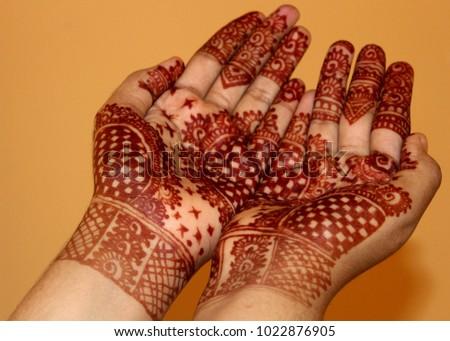 Mehndi Free Hand : Beautiful simple henna mehndi mehindi design stock photo image