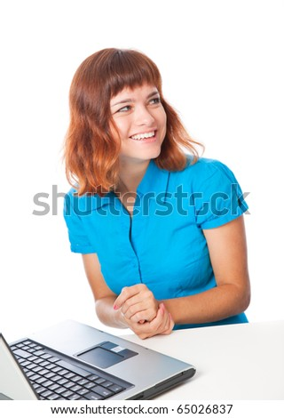 a beautiful smiling girl with a laptop. isolated on white background