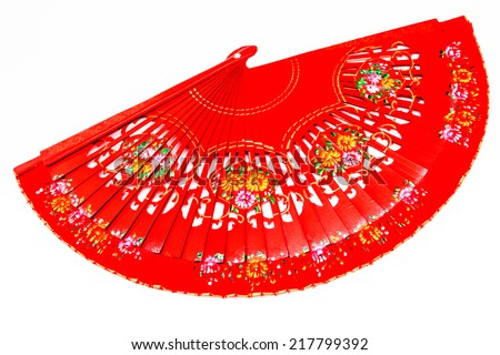 A beautiful spanish fan on a white background - stock photo