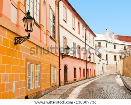 A beautiful street in Prague, picture made in winter - stock photo