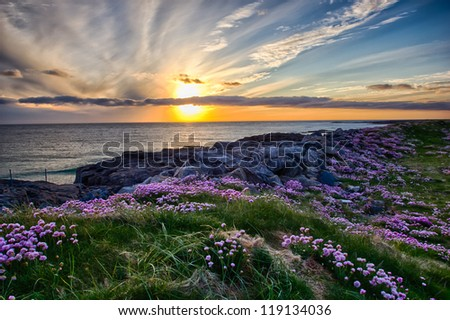 A beautiful sunset at Tangasdale Beach (Outer Hebrides) - stock photo
