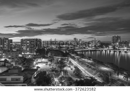 A beautiful sunset view of the Miramar sector of San Juan in Puerto Rico.   - stock photo