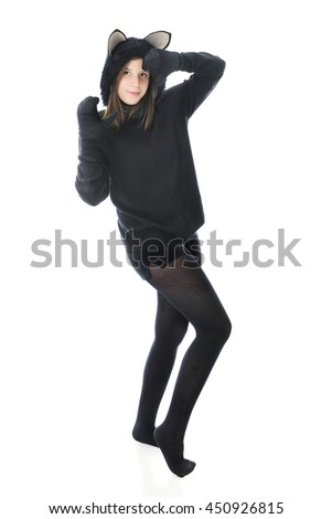 A beautiful teen girl dancing in a black cat outfit. On a white background.  sc 1 st  Shutterstock & Beautiful Teen Girl Dancing Black Cat Stock Photo (Royalty Free ...