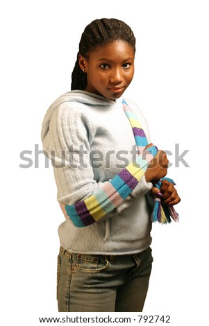 A beautiful teenage girl isolated on a white background. With clipping path. - stock photo