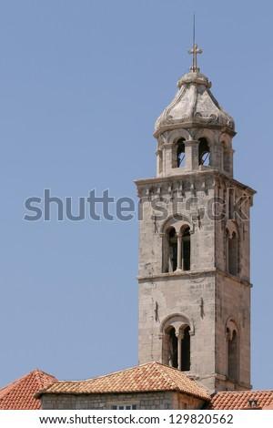 A beautiful tower of a Church in Croatia. - stock photo
