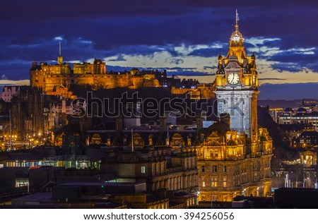 A beautiful view from Calton Hill in Edinburgh, taking in the sights of Edinburgh Castle and the Balmoral Hotel. - stock photo