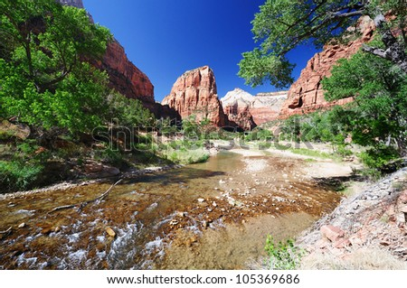 A Beautiful View of Angels Landing - stock photo
