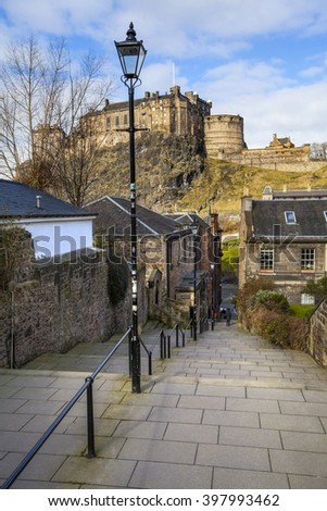 A beautiful view of Edinburgh Castle from Vennel in Edinburgh, Scotland. - stock photo