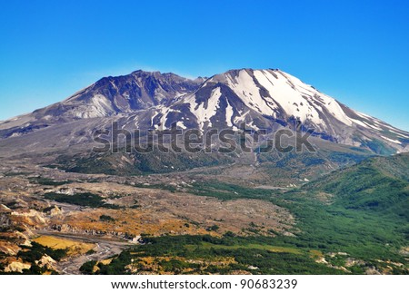 A beautiful View of Mount Saint Helens - stock photo