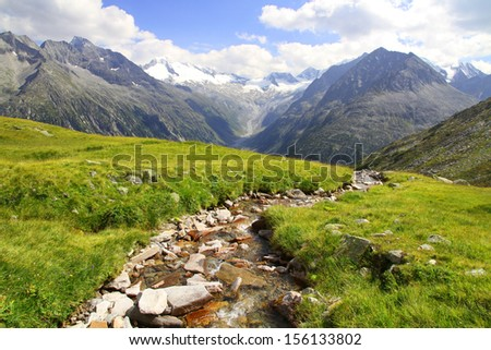 A beautiful view of Olperer above Schlegeisspeicher Lake Zillertal Tirol Austria - stock photo