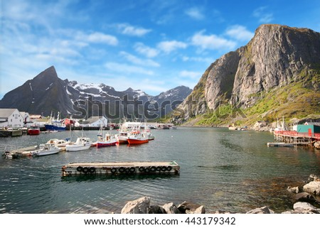 a beautiful view of Reine harbor in Lofoten Islands, Norway
