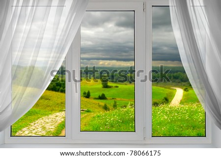 A beautiful view of summer from the window