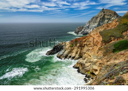 A Beautiful View of the California Coastline near San Francisco - stock photo