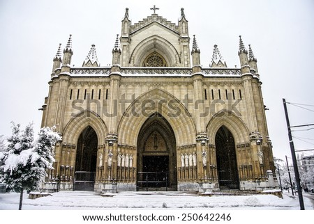 A beautiful view of the Maria Inmaculada cathedral in a snowy day in Vitoria (Alava, Spain) - stock photo