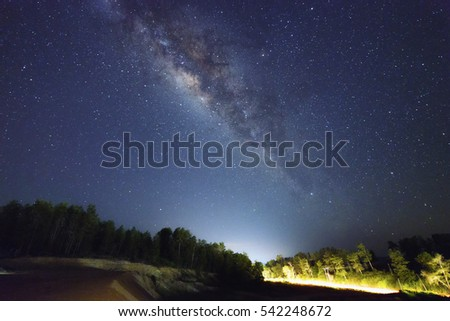 A beautiful view of the Milky Way in Kudat Sabah Borneo. Long exposure photograph with grain. Image contain certain grain or noise and soft focus.