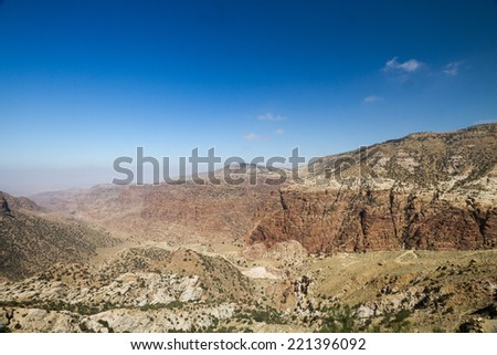 A beautiful view towards the Fenyan eco lodge from dana village in Jordan. - stock photo