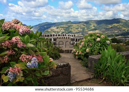 A beautiful viewpoint in Sao Miguel, Azores - stock photo