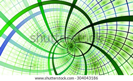 A beautiful wallpaper with a spiral with decorative tiles, all in vivid pastel green and purple - stock photo