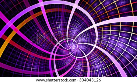 A beautiful wallpaper with a spiral with decorative tiles, all in vivid shining pink,purple,orange - stock photo