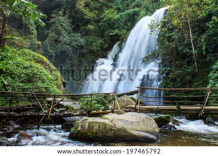 A beautiful waterfall in northern Thailand, Pha Dok Sie Waterfall - stock photo
