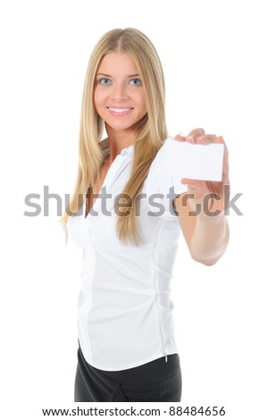 A beautiful woman holds out a business card. Focus on the card.. Isolated on white background