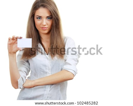 A beautiful woman holds out a business card Isolated on white background - stock photo